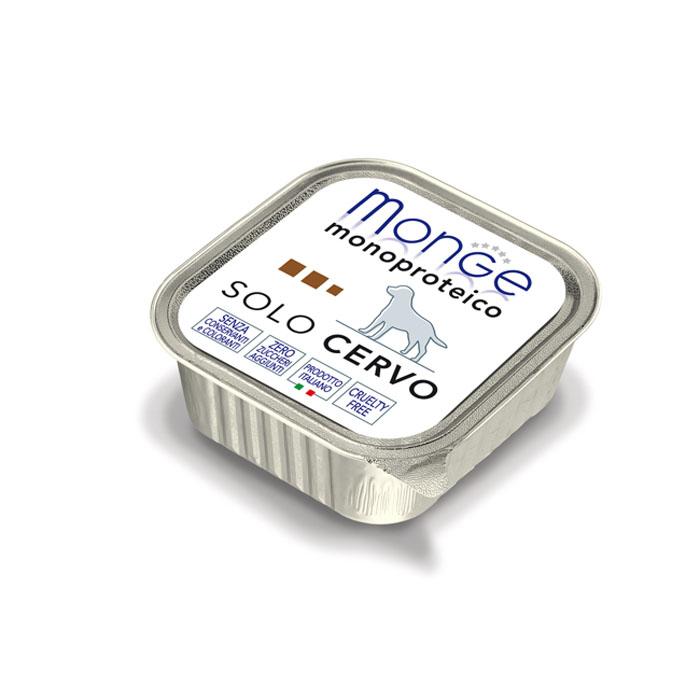 Консервы для собак Monge Monoproteico Solo, паштет из оленины, 150 г70014175Консервы для собак Monge Monoproteico Solo - монобелковый паштет с олениной для собак. Состав: свежая оленина (соответствует 100% использованного мяса), минеральные вещества, витамины. В данном продукте нет клейковины, красителей, консервантов, а также глютена. Технологические добавки: загустители и желирующие вещества. Анализ компонентов: сырой белок 8,5%, сырые масла и жиры 6%, сырая клетчатка 0,5%, сырая зола 1,7%, влажность 80%. Витамины и добавки на 1 кг: витамин А 2500 МЕ, витамин D3 300 МЕ, витамин Е 7 мг. Товар сертифицирован.