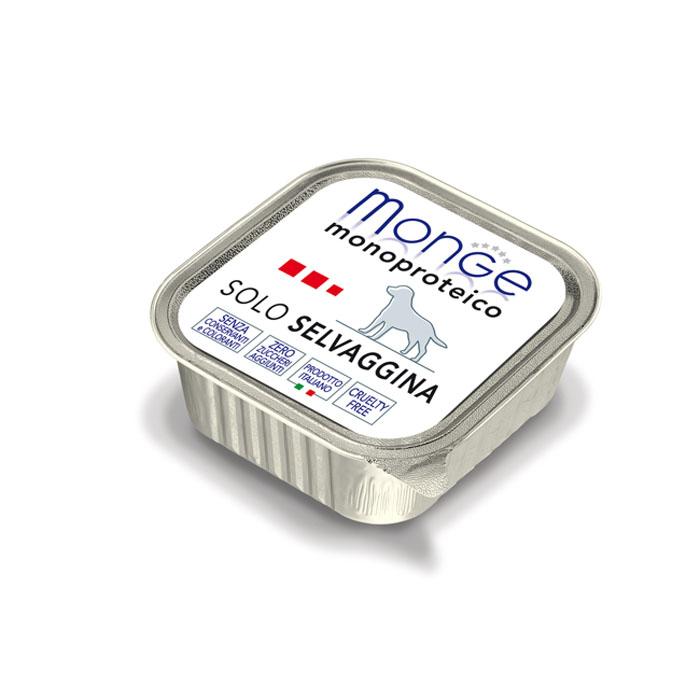 Консервы для собак Monge Monoproteico Solo, паштет из дичи, 150 г70014199Консервы для собак Monge Monoproteico Solo - монобелковый паштет с дичью для собак. Состав: свежая дичь (соответствует 100% использованного мяса), минеральные вещества, витамины. В данном продукте нет клейковины, красителей, консервантов, а также глютена. Технологические добавки: загустители и желирующие вещества. Анализ компонентов: сырой белок 9%, сырые масла и жиры 4,5%, сырая клетчатка 0,5%, сырая зола 1,6%, влажность 80%. Витамины и добавки на 1 кг: витамин А 2500 МЕ, витамин D3 300 МЕ, витамин Е 7 мг. Товар сертифицирован.