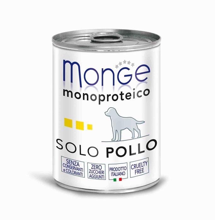 Консервы для собак Monge Monoproteico Solo, паштет из курицы, 400 г70014212Консервы для собак Monge Monoproteico Solo - монобелковый паштет с курицей для собак. Состав: свежая курица (соответствует 100% использованного мяса), минеральные вещества, витамины. В данном продукте нет клейковины, красителей, консервантов, а также глютена. Технологические добавки: загустители и желирующие вещества. Анализ компонентов: сырой белок 8%, сырые масла и жиры 6%, сырая клетчатка 0,5%, сырая зола 1,5%, влажность 80%. Витамины и добавки на 1 кг: витамин А 2500 МЕ, витамин D3 300 МЕ, витамин Е 7 мг. Товар сертифицирован.