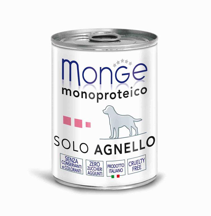 Консервы для собак Monge Monoproteico Solo, паштет из ягненка, 400 г70014236Консервы для собак Monge Monoproteico Solo - монобелковый паштет с мясом ягненка для собак. Состав: свежая баранина (соответствует 100% использованного мяса), минеральные вещества, витамины. В данном продукте нет клейковины, красителей, консервантов, а также глютена. Технологические добавки: загустители и желирующие вещества. Анализ компонентов: сырой белок 8%, сырые масла и жиры 6%, сырая клетчатка 0,5%, сырая зола 1,6%, влажность 80%. Витамины и добавки на 1 кг: витамин А 2500 МЕ, витамин D3 300 МЕ, витамин Е 7 мг. Товар сертифицирован.
