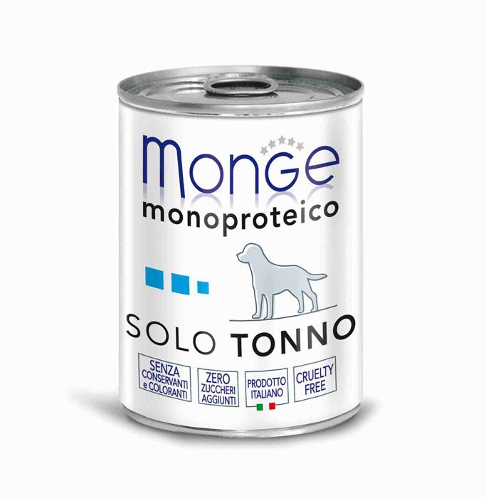 Консервы для собак Monge Monoproteico Solo, паштет из тунца, 400 г70014243Консервы для собак Monge Monoproteico Solo - монобелковый паштет с тунцом для собак. Состав: свежий тунец (соответствует 100% использованного мяса), минеральные вещества, витамины. В данном продукте нет клейковины, красителей, консервантов, а также глютена. Технологические добавки: загустители и желирующие вещества. Анализ компонентов: сырой белок 11,5%, сырые масла и жиры 2%, сырая клетчатка 0,5%, сырая зола 1,7%, влажность 80%. Витамины и добавки на 1 кг: витамин А 2500 МЕ, витамин D3 300 МЕ, витамин Е 7 мг. Товар сертифицирован.