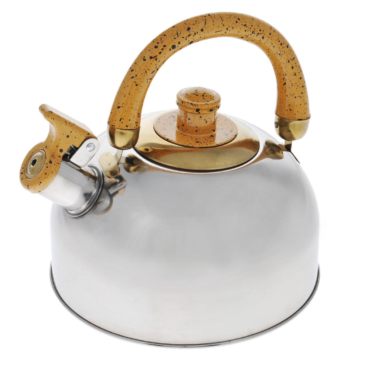 Чайник Mayer & Boch, со свистком, цвет: золотистый, 2 л. MB-1622MB-1622Чайник Mayer & Boch выполнен из шлифованной зеркальной нержавеющей стали высокой прочности. Чайник оснащен откидным свистком, который громко оповестит о закипании воды. Удобная эргономичная ручка и крышка выполнены из бакелита. Такой чайник идеально впишется в интерьер любой кухни и станет замечательным подарком к любому случаю. Подходит для газовых, электрических, стеклокерамических, галогеновых плит. Не подходит для индукционных плит. Можно мыть в посудомоечной машине. Диаметр чайника (по верхнему краю): 8,5 см. Высота чайника (с учетом ручки): 20 см.
