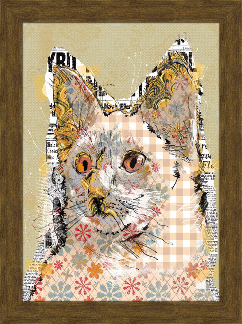 Портрет кошки с рыжими глазами. 30см х 40см30х40 R1370-314119Постер, в глянцевой ламинации, и пластиковой раме.
