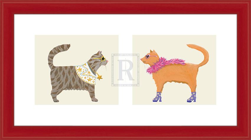 Звездные коты. 40см х 20см40х20 R4210-122227Постер, в глянцевой ламинации, и пластиковой раме.