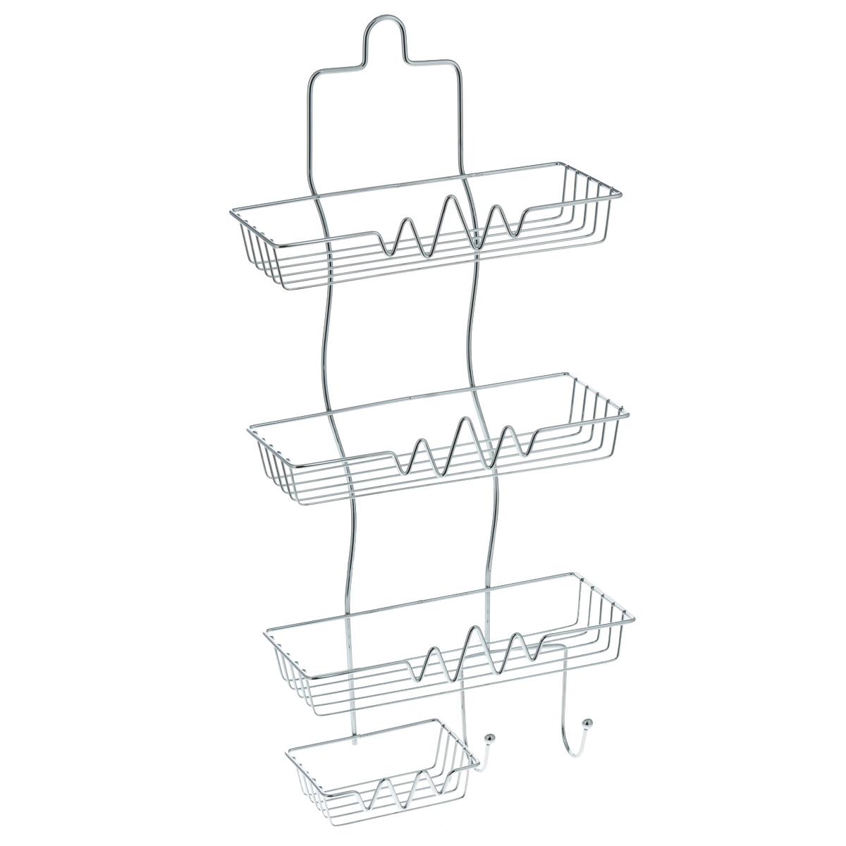 Полка Доляна, 3-х ярусная, с мыльницей, высота 60 см131393Полка Доляна выполнена из высококачественного металла и предназначена для хранения вещей в ванной комнате. Полка состоит из 3-х ярусов прямоугольной формы, мыльницы и двух крючков. Она пригодится для хранения различных предметов, которые всегда будут под рукой. Благодаря компактным размерам полка впишется в интерьер вашего дома и позволит вам удобно и практично хранить предметы домашнего обихода. Удобная и практичная металлическая полочка станет незаменимым аксессуаром в вашем хозяйстве. Высота полки: 60 см. Размер яруса: 27 см х 11 см. Расстояние между ярусами: 20 см. Размер мыльницы: 12 см х 11 см.