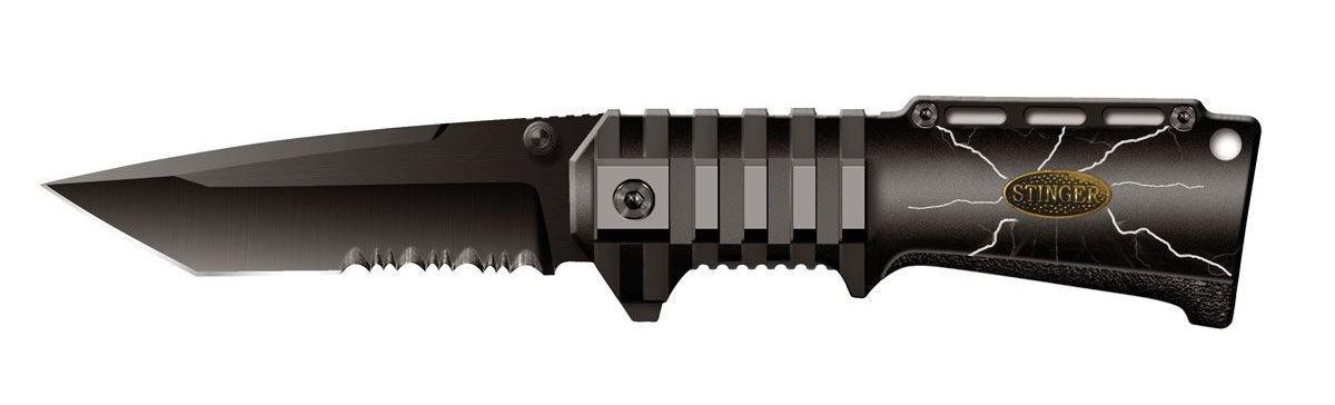 Нож складной Stinger SA-574BS, цвет: черный, 9 см6900000431849Складной нож Stinger SA-574BS образец недорогого, но очень качественного изделия. Тип лезвия American Tanto. Эти клинки, далекие потомки самурайских ножей, стали сейчас очень популярны. Эта форма лезвия часто используется в боевых ножах. Открывается нож с помощью шпынька на лезвии или экстрактора на обухе. Фиксирование ножа осуществляется при помощи замка Liner Lock. Это несомненно, самый простой и один из самых надежных средст фиксации. По своей сути, это пластина, которая при открытии входит в выемку у основания лезвия и надежно запирает его. Чтобы закрыть нож надо просто сдвинуть пластину пальцем в бок. Все просто, ломаться практически нечему. Надежность замка зависит только от прочности запирающей пластины. В открытом состоянии нож фиксируется, что значительно повышает травмобезопасность. Рукоятка профилирована и имеет боковые накладки из анодированного алюминия, повышающие надежность и удобство хвата.