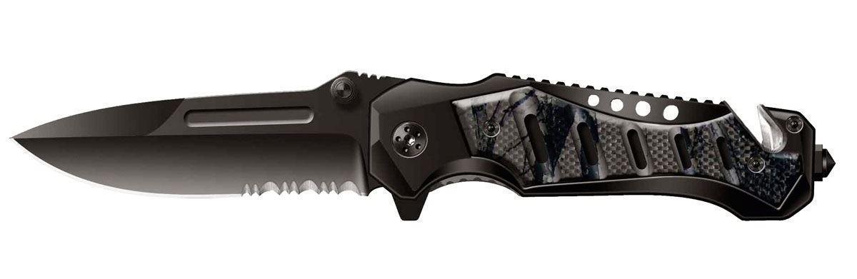 Нож складной Stinger SA-582GY, цвет: черный, камуфляж, 9 см6900000431023Нож перочинный складной Stinger SA-582GY. Стильный и смелый дизайн для уверенного в себе мужчины. Такой нож - аксессуар, который подчеркивает Ваше мужество, а также практичная и нужная вещь Тип лезвия Drop Point. Эта форма лезвия, с понижением линии обуха к концу клинка (плавное сужение), позволяет лезвию как хорошо резать, так и наносить колющие удары. В данном ноже конец клинка имеет тыльную заточку. Значительно облегчает вход ножа в мишень при колющем ударе. Заточка полусерейторная. Примерно половина лезвия плейн (гладкая заточка), вторая половина, около основания, имеет серейтерную заточку. Подобная комбинация отлично режет канаты, плотную ткань и другие волокнистые материалы. Серейтор повреждает структуру и надрывает волокна, а гладкое лезвие завершает процесс. Открывается нож с помощью шпынька на лезвии или экстрактора на обухе. Фиксирование ножа осуществляется при помощи замка Liner Lock. Это несомненно, самый простой и один из самых надежных средств фиксации. По...