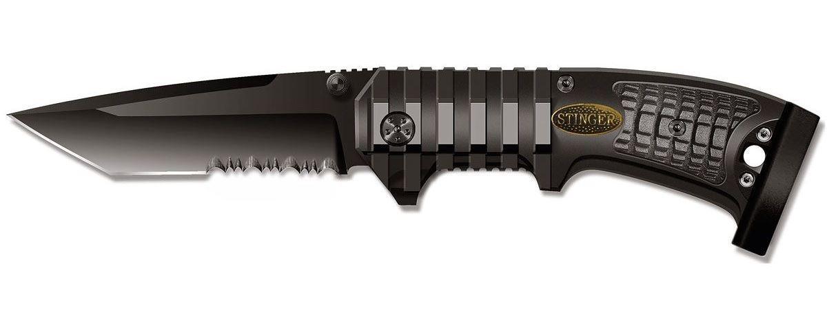 Нож складной Stinger SA-583B, цвет: черный, 9 см6900000431467Нож Stinger SA-583B всегда найдет себе применение на даче или в гараже, на рыбалке или охоте. Малые габариты делают его удобным при частой транспортировке. Лезвие выполнено из высококачественной нержавеющей стали. В открытом состоянии нож фиксируется при помощи замка Liner Lock, что значительно повышает безопасность. Благодаря особой форме ручки Stinger SA-583B можно открывать одной рукой. Данная модель имеет полусерейторную заточку, что позволяет отлично резать плотную ткань, канаты и другие волокнистые материалы.