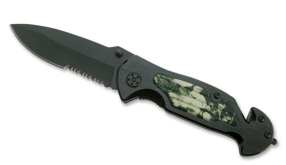 Нож складной Stinger YD-7510B, цвет: черный, камуфляж, 9 см6900999997029Клинок ускладного ножа Stinger YD-7510B имеет полусерейторную заточку, а также стропорез и стеклобой. Его можно открывать одной рукой благодаря шпыньку на лезвии. В открытом состоянии нож фиксируется, что значительно повышает травмобезопасность. Его можно носить в кармане, надежно закрепив с помощью клипсы. У клинка черное антибликовое покрытие, рукоятка - камуфляж. Последняя профилирована и имеет боковые накладки, повышающие надежность и удобство хвата. Данный складной нож сертифицирован и не является холодным оружием.