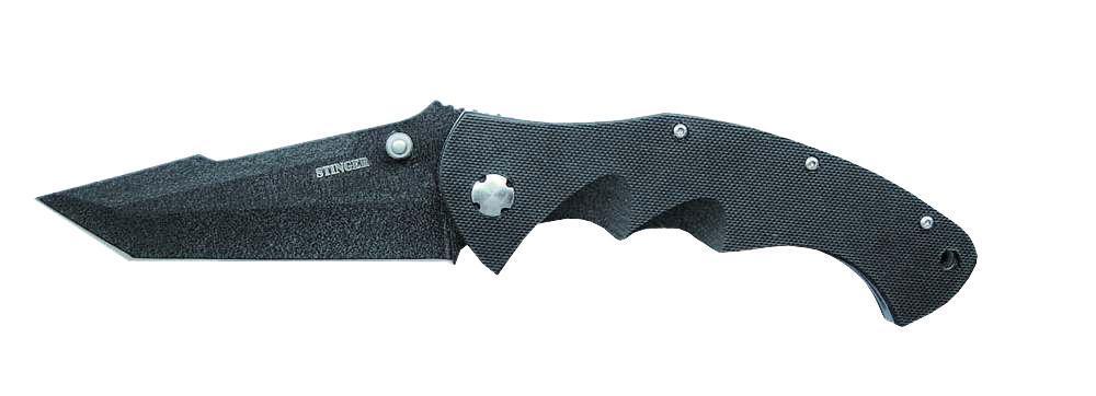 Нож складной Stinger G10-7805B, цвет: черный6909999306718Складной нож Stinger G10-7805B благодаря акульему плавнику и шпыньку на лезвии можно открывать одной рукой. В открытом состоянии нож фиксируется, что значительно повышает травмобезопасность. Его можно носить в кармане, надежно закрепив с помощью клипсы. У ножа черное антибликовое покрытие, одинаковое на клинке и рукоятке. Последняя профилирована и имеет боковые накладки, повышающие надежность и удобство хвата. Данный складной нож сертифицирован и не является холодным оружием. Этот Стингер имеет очень внушительный вид.