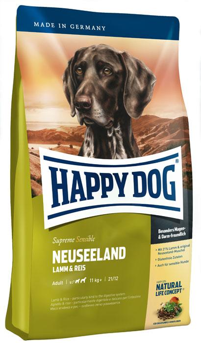 Корм сухой для собак Happy Dog Neuseeland, с ягненком и рисом, 4 кг15314Корм сухой для собак Happy Dog Neuseeland - необыкновенно вкусный полнорационный корм Премиум класса в форме аппетитных крокетов. Предназначен для собак весом от 11 кг. Корм содержит 21% мяса ягненка, 21% риса и приготавливается с добавлением ценного зеленогубого новозеландского моллюска. Этот корм идеально подходит всем привередливым и разборчивым в еде собакам средних и крупных пород. Happy Dog Neuseeland - идеальный вариант для кормления чувствительных к кормам собак с учетом их особых потребностей: содержит только тщательно отобранные компоненты, отличается особо бережной технологией приготовления и оптимизированным уровнем белков и энергии. Эксклюзивная рецептура дополнена уникальным Natural Life Concept из натуральных ингредиентов. Состав: мясо ягненка (21%), рисовая мука (21%), кукурузная мука, кукуруза, птичий жир, гидролизат печени, свекольная пульпа, масло из семян подсолнечника, яблочная пульпа (1%), рапсовое масло, цельное яйцо, хлорид натрия, дрожжи,...