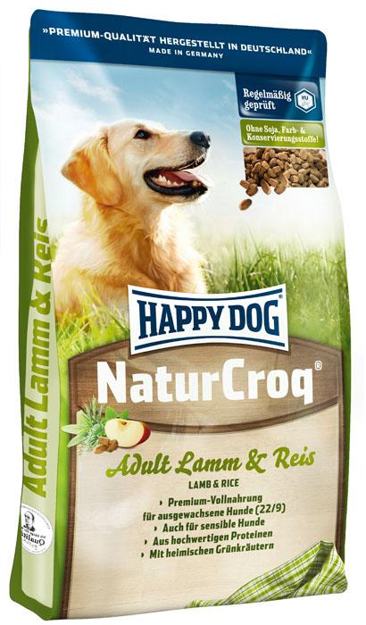 Корм сухой для собак Happy Dog Natur Croq, с ягненком и рисом, 15 кг15317Корм сухой для собак Happy Dog Natur Croq - полнорационный корм Премиум класса в форме гранул. Особенно хорошо зарекомендовал себя для кормления чувствительных собак. Полезная рецептура содержит высококачественные и легкоусвояемые ингредиенты: вкусного ягненка, хорошо переносимый рис, а также ценные омега-3 и омега-6 жирные кислоты из подсолнечного и рапсового масел - важно для здоровья кожи и блестящей шерсти. Корм идеально подходит собакам с чувствительным пищеварением, с нормальными потребностями в энергии и протеине. Премиум-формула содержит все витамины и минеральные вещества, необходимые для сбалансированного питания собаки. Состав: птица, цельные зерна пшеницы, цельнозерновая кукуруза, пшеничная мука, кукурузная мука, цельные зерна ячменя, ягненок (7%), рисовая мука (7%), рыба, птичий жир, говяжий жир, гидролизат печени, свекольная пульпа, масло из семян подсолнечника (0,8%), яблочная пульпа (0,8%), дрожжи, ростки солода, рапсовое масло (0,2%), хлорид натрия, овес,...