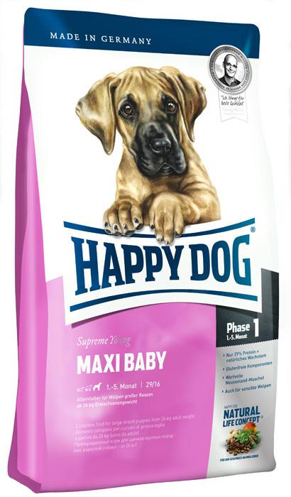 Корм сухой Happy Dog Maxi Baby для щенков крупных пород от 1 до 6 месяцев, 15 кг15320Сухой корм Happy Dog Maxi Baby - полноценный сбалансированный сухой корм для щенков крупных пород (на 1 фазе роста от 1 до 6 месяцев). Вес взрослой собаки от 26 кг. Корм для щенков крупных пород должен соответствовать особым требованиям: гранулы корма должны быть больше, чтобы предотвратить слишком быстрое их проглатывание. Количество энергии и протеина в корме для щенков должно соответствовать особенным потребностям интенсивной фазы роста. Maxi Baby объединяет высококачественную птицу, морскую рыбу, рис, а также ценного новозеландского моллюска в рецептуре, рекомендованной ветеринарными врачами, и содержит 26,5% протеина. Этот корм для щенков оптимально подходит для беспроблемного и щадящего кормления щенков крупных пород, в том числе чувствительных, с 4 недели до включительно 5 месяца. Happy Dog - идеальный вариант для кормления собак с учетом их особых потребностей: содержит только тщательно отобранные компоненты, отличается особо бережной...
