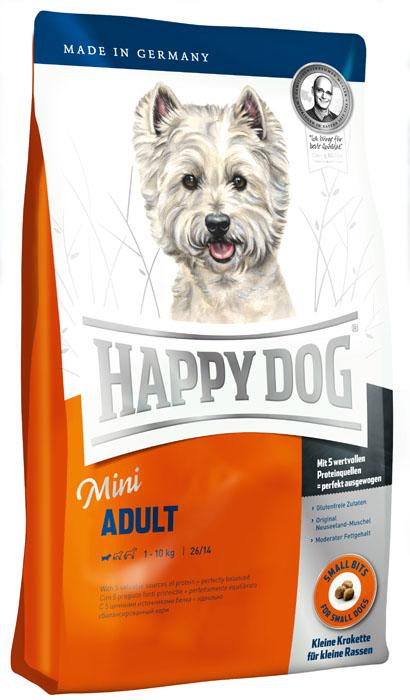 Корм сухой Happy Dog Mini Adult для взрослых собак маленьких пород, 1 кг26355Сухой корм Happy Dog Mini Adult - полнорационный корм для всех взрослых собак весом до 10 кг с нормальной потребностью в энергии. Переизбыток белка и жира нередко становится для собак причиной множества хронических заболеваний - прежде всего при недостатке физической активности. Помочь может сбалансированное, но не слишком калорийное питание, соответствующее реальным потребностям собаки с нормальной активностью. Adult Mini содержит 26% легко усвояемого протеина лучшего качества и сбалансированное количество жира 14% - с жизненно необходимыми ненасыщенными омега-3 и омега-6 жирными кислотами, которые производятся из высококачественного животного и растительного сырья. Особая рецептура с уникальным комплексом из натуральных составляющих в сочетании с оригинальным мясом новозеландских моллюсков идеально подходит для всех взрослых собак весом до 10 кг. Содержание энергии в корме соответствует естественной суточной активности 2-3 часа. Состав: кукуруза, птица,...