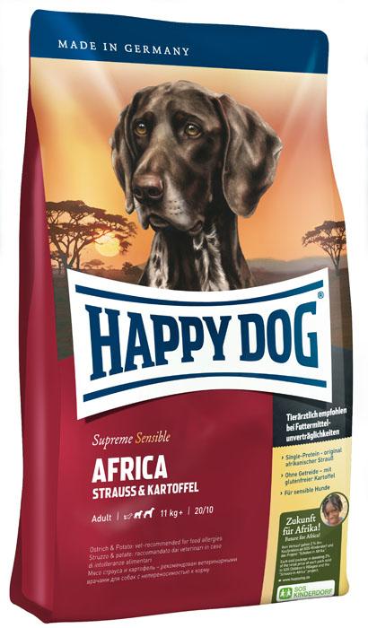 Корм сухой для собак Happy Dog Africa, монобелковый, с мясом страуса и картофелем, 4 кг35130Корм сухой для собак Happy Dog Africa - необыкновенно вкусный полнорационный корм СуперПремиум класса для привередливых и разборчивых в еде собак. Корм отлично подходит для собак средних и крупных пород с чувствительным пищеварением (весом от 11 кг), так как учитывает их особые потребности: уникальная формула корма объединяет мясо страуса и картофель. Мясо страуса - эксклюзивный и редкий источник белка, идеально подходит для собак, страдающих пищевой непереносимостью. Картофель не содержит глютена и рекомендован для собак, не переносящих злаки. Эксклюзивную рецептуру дополняют ценные омега-3 и омега-6 жирные кислоты, которые гарантируют собаке здоровую кожу и блестящую шерсть. Специальная формула гранул соответствует форме челюстей собак крупных и средних пород. Состав: картофельные хлопья (48%), страус (18%), картофельный белок, масло из семян подсолнечника, свекольная пульпа, гидролизат печени, яблочная пульпа (0,8%), рапсовое масло, морская соль, дрожжи...