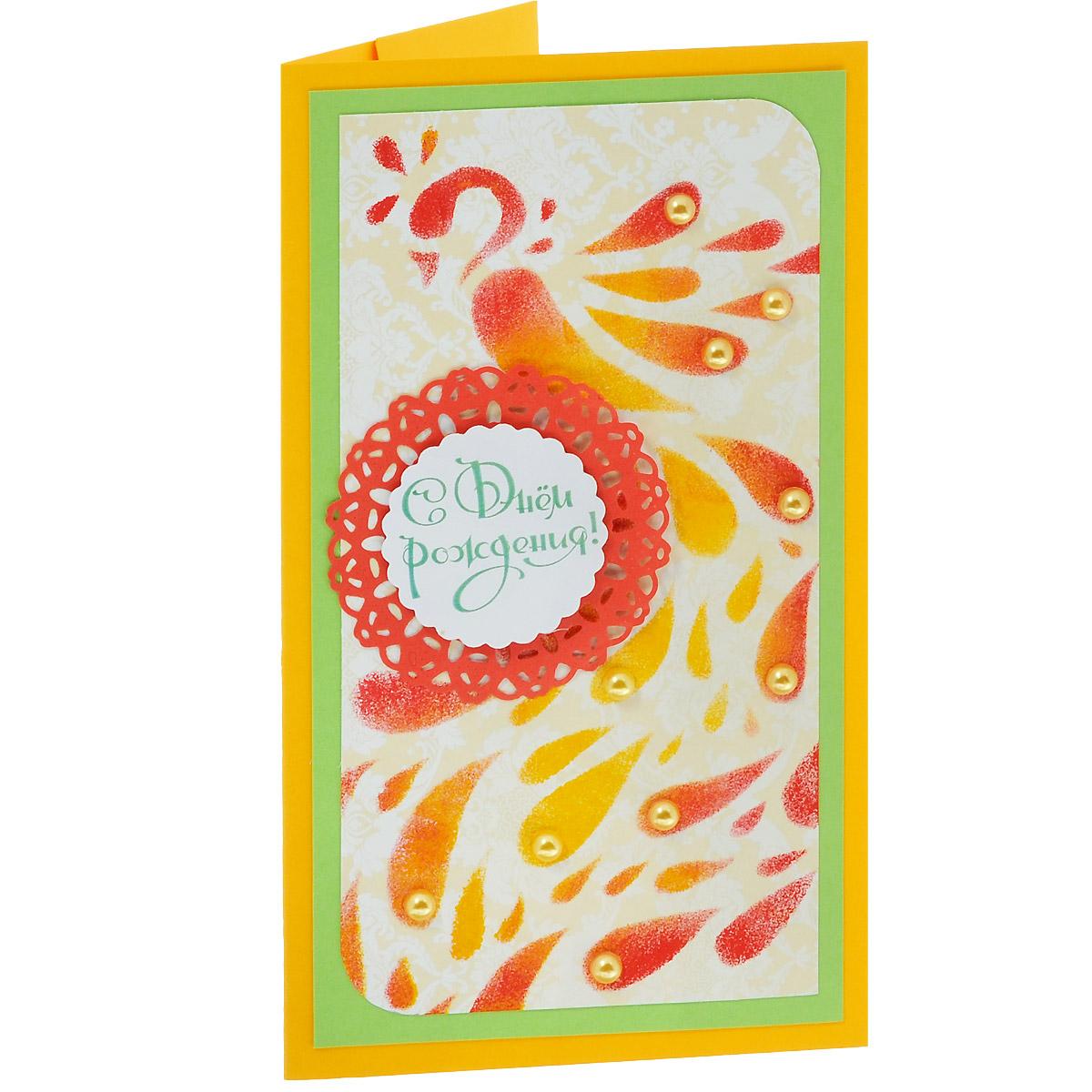 ОЖ-0021 Открытка-конверт «С Днём Рождения!» (павлин). Студия «Тётя Роза»Винтажные открытки №97Характеристики: Размер 19 см x 11 см. Материал: Высоко-художественный картон, бумага, декор. Данная открытка может стать как прекрасным дополнением к вашему подарку, так и самостоятельным подарком. Так как открытка является и конвертом, в который вы можете вложить ваш денежный подарок или просто написать ваши пожелания на вкладыше. Очень яркая и эффектная открытка с нанесенным на лицевую часть нарядным павлином, выполненным в технике ручной трафаретной печати. Роскошно декорирована жемчугом и надписью на ажурном многослойном медальоне в центре композиции. Также открытка упакована в пакетик для сохранности. Обращаем Ваше внимание на то, что открытка может незначительно отличаться от представленной на фото.