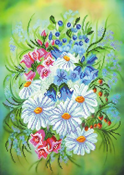Набор для вышивания бисером Букет с ромашками, 27 см х 38 см. 37/Б684306Набор для вышивания бисером Букет с ромашками поможет вам создать свой личный шедевр - красивую картину, частично вышитую бисером по цветному фону. Работа, выполненная своими руками, станет отличным подарком для друзей и близких! Набор содержит: - ткань с нанесенным цветным рисунком (размер ткани 37 см х 49 см), - бисер (17 цветов), - нить для пришивания, - игла для бисера, - инструкция на русском языке.