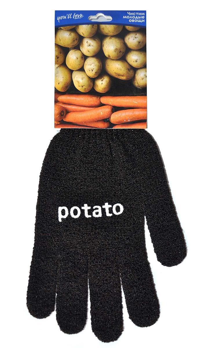 Перчатка для чистки овощей Youll love, цвет: черный57420Перчатка Youll love, выполненная из нейлона и спандекса, воздействует на овощи как терка. Быстро очистит молодой картофель, морковь, редис от грязи и кожуры. Безопаснее и быстрее ножа. Материал: 90% нейлон, 10% спандекс.