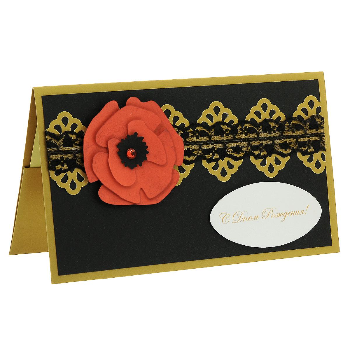 ОЖ-0018 Открытка-конверт «С Днём Рождения!» (алый мак на черном). Студия «Тётя Роза»Винтажные открытки №97Характеристики: Размер 19 см x 11 см. Материал: Высоко-художественный картон, бумага, декор. Данная открытка может стать как прекрасным дополнением к вашему подарку, так и самостоятельным подарком. Так как открытка является и конвертом, в который вы можете вложить ваш денежный подарок или просто написать ваши пожелания на вкладыше. Благородное и очень торжественное сочетание черных, красных и золотых цветов придает этой открытке изысканный стиль. Стилизованный цветок мака вырезан и затонирован вручную. В декоре использовано черное капроновое кружево и блестящий стразик. Также открытка упакована в пакетик для сохранности. Обращаем Ваше внимание на то, что открытка может незначительно отличаться от представленной на фото.