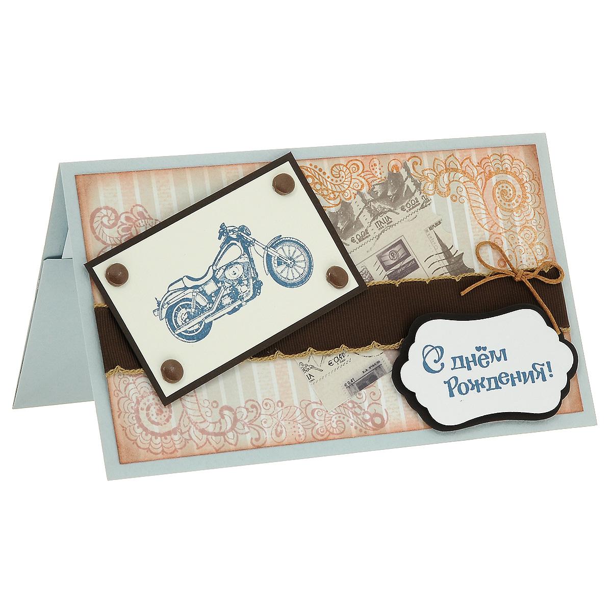 """Студия """"Тётя Роза"""" ОМ-0004 Открытка-конверт «С Днём Рождения!» (байк в коричневых тонах). Студия «Тётя Роза»"""