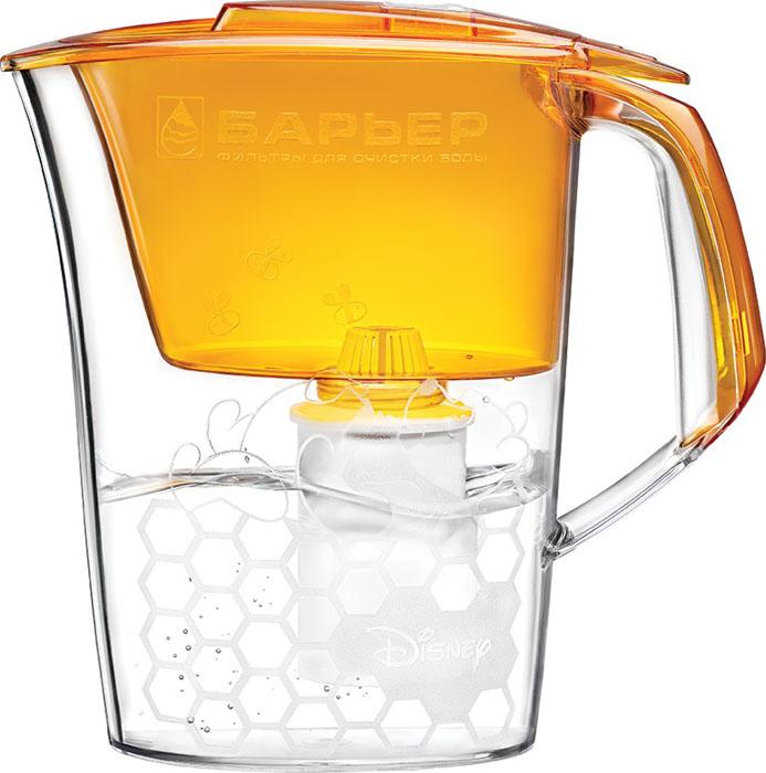 Фильтр-кувшин для воды Барьер Винни, со сменной кассетой, цвет: медовый, 2,6 лВ214Р00Фильтр-кувшин Винни изготовлен из высококачественного пластика, рекомендованного для контакта с питьевой водой (BPA-free) и предназначен для очистки воды. Очищенную воду можно давать малышам с 3-х месячного возраста. Прочное полимерное уплотнение и герметичная резьба исключают попадание неочищенной воды из воронки в кувшин. Фильтр оснащен механическим индикатором ресурса кассеты. Благодаря плоской форме, изделие может размещаться в дверце холодильника. В набор входит также сменная кассета и сказочные наклейки, позволяющие создать кувшин неповторимым. Фильтр-кувшин Винни и кассета сменная Винни и его друзья одобрены Межрегиональной общественной организацией Ассоциация Заслуженных врачей Российской Федерации для организации питьевого режима детей раннего возраста. Фильтр пригоден для мытья в посудомоечной машине за исключением крышки и при условии удаления с кувшина наклеек. Материал: высококачественный пластик. Размер кувшина...