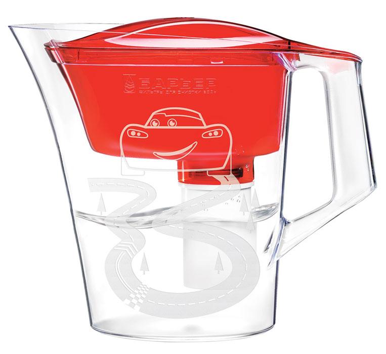 Фильтр-кувшин для воды Барьер Тачки, со сменной кассетой, цвет: красный, 4 лВ233Р00Фильтр-кувшин Тачки изготовлен из высококачественного пластика, рекомендованного для контакта с питьевой водой (BPA-free) и предназначен для очистки воды. Очищенную воду можно давать детям с 4-х лет. Прочное полимерное уплотнение и герметичная резьба исключают попадание неочищенной воды из воронки в кувшин. В набор входит сменная кассета и сказочные наклейки, позволяющие создать кувшин неповторимым. Уникальные технологии очистки и минерализации воды разработаны с учетом норм физиологической потребности детей от 4 лет в витаминах и минералах. Микроэлементы, входящие в состав кассеты, делают воду вкусной и полезной для ребенка (обогащение фтором и магнием). Фильтр-кувшин Тачки и кассета сменная Тачки одобрены Межрегиональной общественной организацией Ассоциация Заслуженных врачей Российской Федерации для организации питьевого режима детей от 4 лет. Материал: высококачественный пластик. Объем кувшина: 4 л. Объем воронки 1,4 л. Объем...
