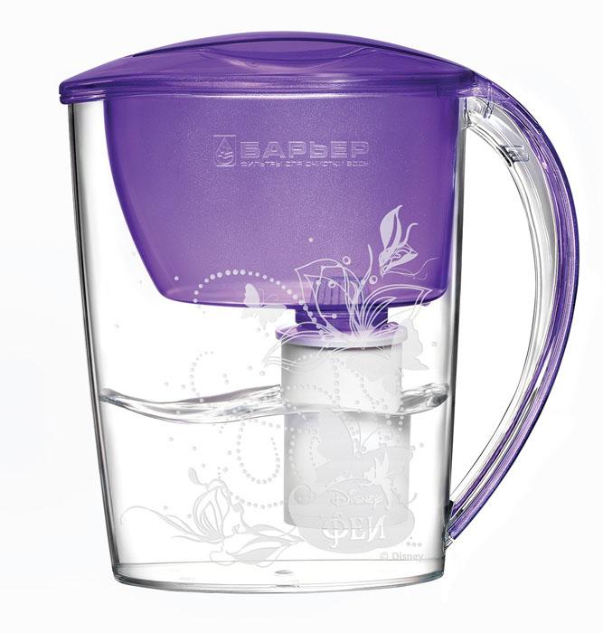 Фильтр-кувшин для воды Барьер Феи, со сменной кассетой, цвет: фиалковый, 2,5 лВ248Р00Фильтр-кувшин «Феи» изготовлен из высококачественного пластика, рекомендованного для контакта с питьевой водой (BPA-free) и предназначен для очистки воды. Очищенную воду можно давать детям с 4-х лет. Прочное полимерное уплотнение и герметичная резьба исключают попадание неочищенной воды из воронки в кувшин. Благодаря плоской форме, изделие может размещаться в дверце холодильника. В набор входит также сменная кассета и сказочные наклейки, позволяющие создать кувшин неповторимым. Уникальные технологии очистки и минерализации воды разработаны с учетом норм физиологической потребности детей от 4 лет в витаминах и минералах. Микроэлементы, входящие в состав кассеты, делают воду вкусной и полезной для ребенка. Фильтр-кувшин «Феи» и кассета сменная «Феи» одобрены Межрегиональной общественной организацией «Ассоциация Заслуженных врачей Российской Федерации» для организации питьевого режима детей от 4 лет. Материал: высококачественный пластик. Размер...