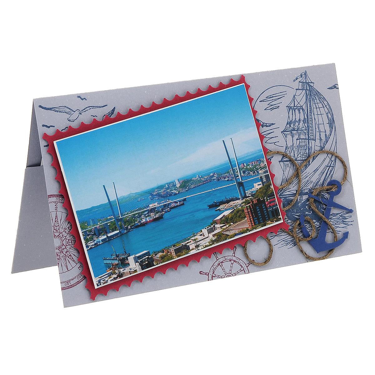 ОРАЗ-0004 Открытка-конверт «С наилучшими пожеланиями!» (Владивосток, мост «Золотой рог»). Студия «Тётя Роза»Винтажные открытки №97Характеристики: Размер 19 см x 11 см. Материал: Высоко-художественный картон, бумага, декор. Данная открытка может стать как прекрасным дополнением к вашему подарку, так и самостоятельным подарком. Так как открытка является и конвертом в который вы можете вложить ваш денежный подарок или просто написать ваши пожелания на вкладыше. Стильная открытка из чудесного и удивительного по своей неповторимости города на самом краешке земли. В ней – запах морского соленого ветра, и динамичность современной жизни. Отсутствие принадлежности к какому-либо отдельному событию делают ее универсальным поздравлением, или же просто «Приветом для дорогого человека!». Также открытка упакована в пакетик для сохранности. Обращаем Ваше внимание на то, что открытка может незначительно отличаться от представленной на фото.