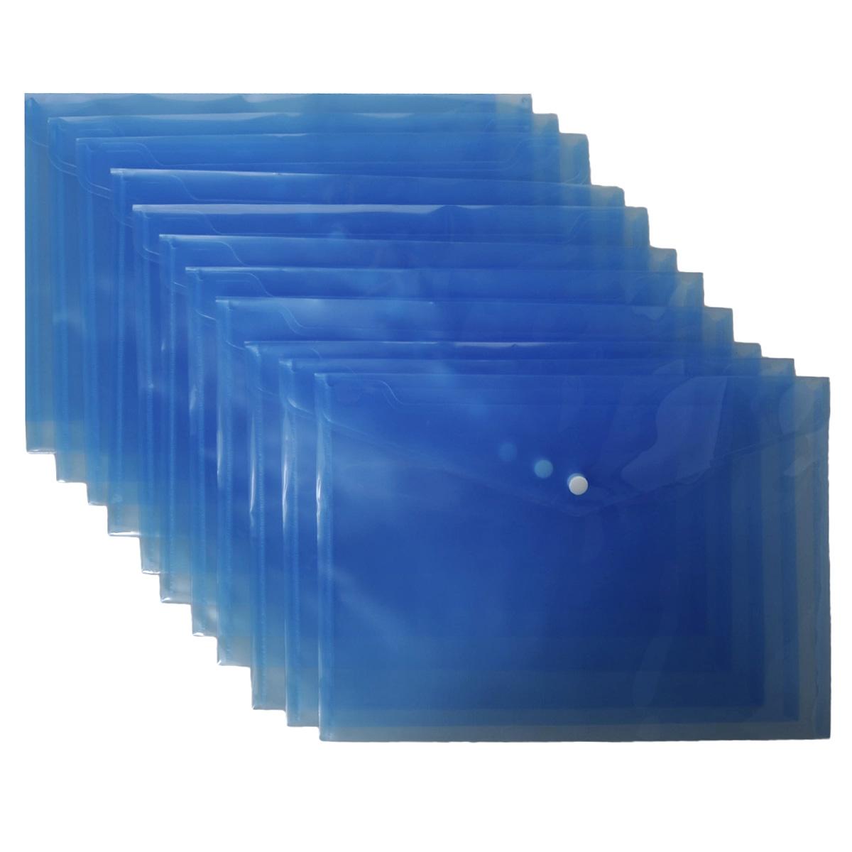 Папка-конверт на кнопке Centrum, цвет: синий. Формат А4, 12 шт83124Папка-конверт на кнопке Centrum - это удобный и функциональный офисный инструмент, предназначенный для хранения и транспортировки рабочих бумаг и документов формата А4. Папка изготовлена из полупрозрачного пластика, закрывается клапаном на кнопке. В комплект входят 12 папок формата A4. Папка-конверт - это незаменимый атрибут для студента, школьника, офисного работника. Такая папка надежно сохранит ваши документы и сбережет их от повреждений, пыли и влаги.