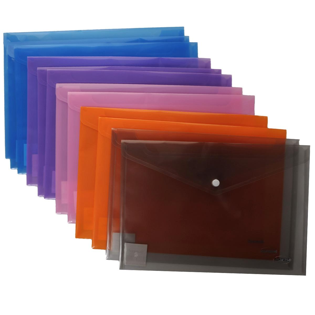 Папка-конверт на кнопке Centrum, цвет: синий. Формат А4, 12 шт80024Папка-конверт на кнопке Centrum - это удобный и функциональный офисный инструмент, предназначенный для хранения и транспортировки рабочих бумаг и документов формата А4. Папка изготовлена из полупрозрачного пластика, закрывается клапаном на кнопке. В комплект входят 12 папок разных цветов формата A4. Папка-конверт - это незаменимый атрибут для студента, школьника, офисного работника. Такая папка надежно сохранит ваши документы и сбережет их от повреждений, пыли и влаги.