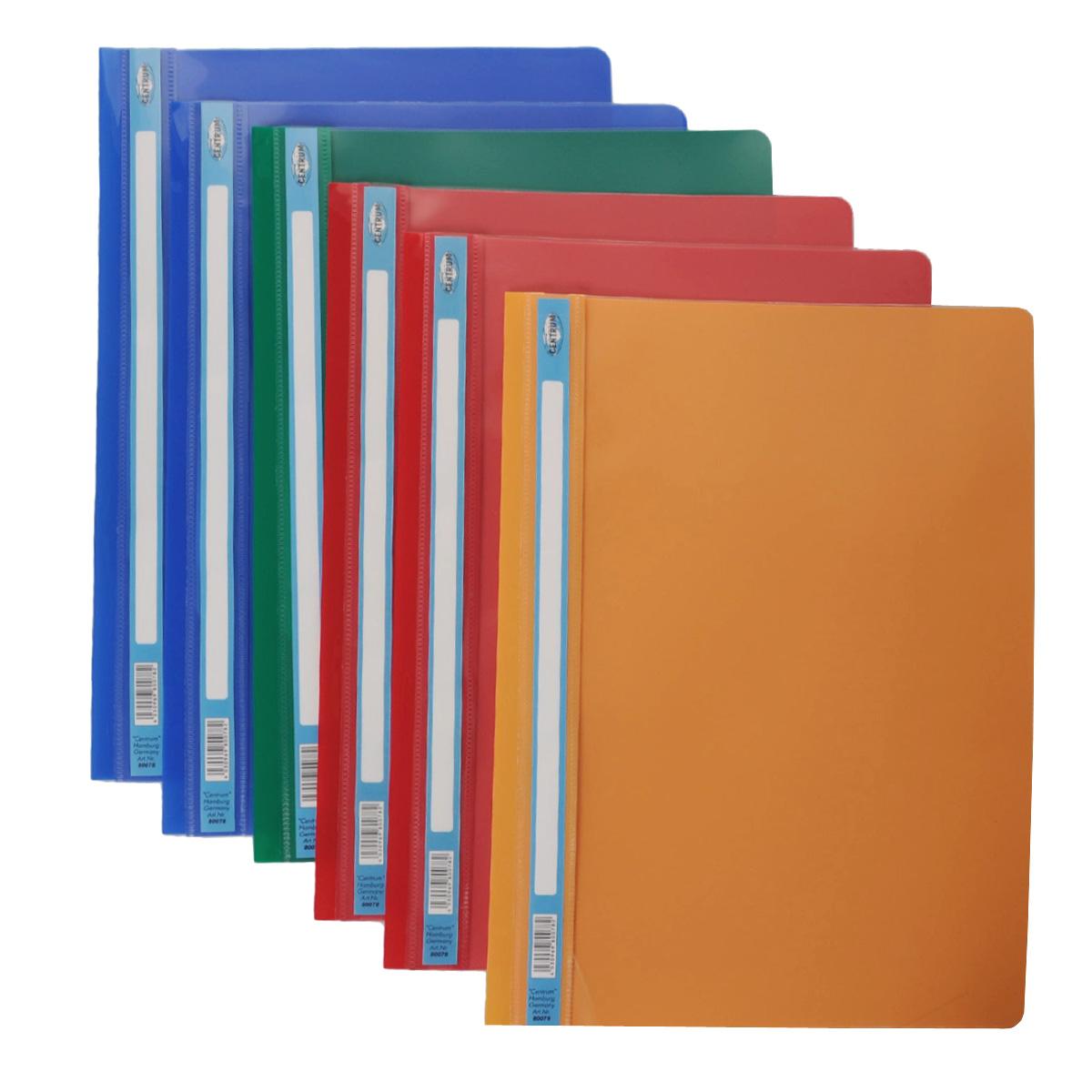 Папка-скоросшиватель Centrum. Формат А4, 6 шт, цвет: оранжевый80078ОПапка-скоросшиватель Centrum - это удобный и функциональный офисный инструмент, предназначенный для хранения и транспортировки рабочих бумаг и документов формата А4. Изготовлена из полупрозрачного, прочного пластика, имеет прозрачный верхний лист и более плотный нижний. Папка оснащена металлическими скобками для фиксации перфорированных бумаг. В комплект входят 6 папок формата A4. Папка-скоросшиватель - это незаменимый атрибут для студента, школьника, офисного работника. Такая папка надежно сохранит ваши документы и сбережет их от повреждений, пыли и влаги.