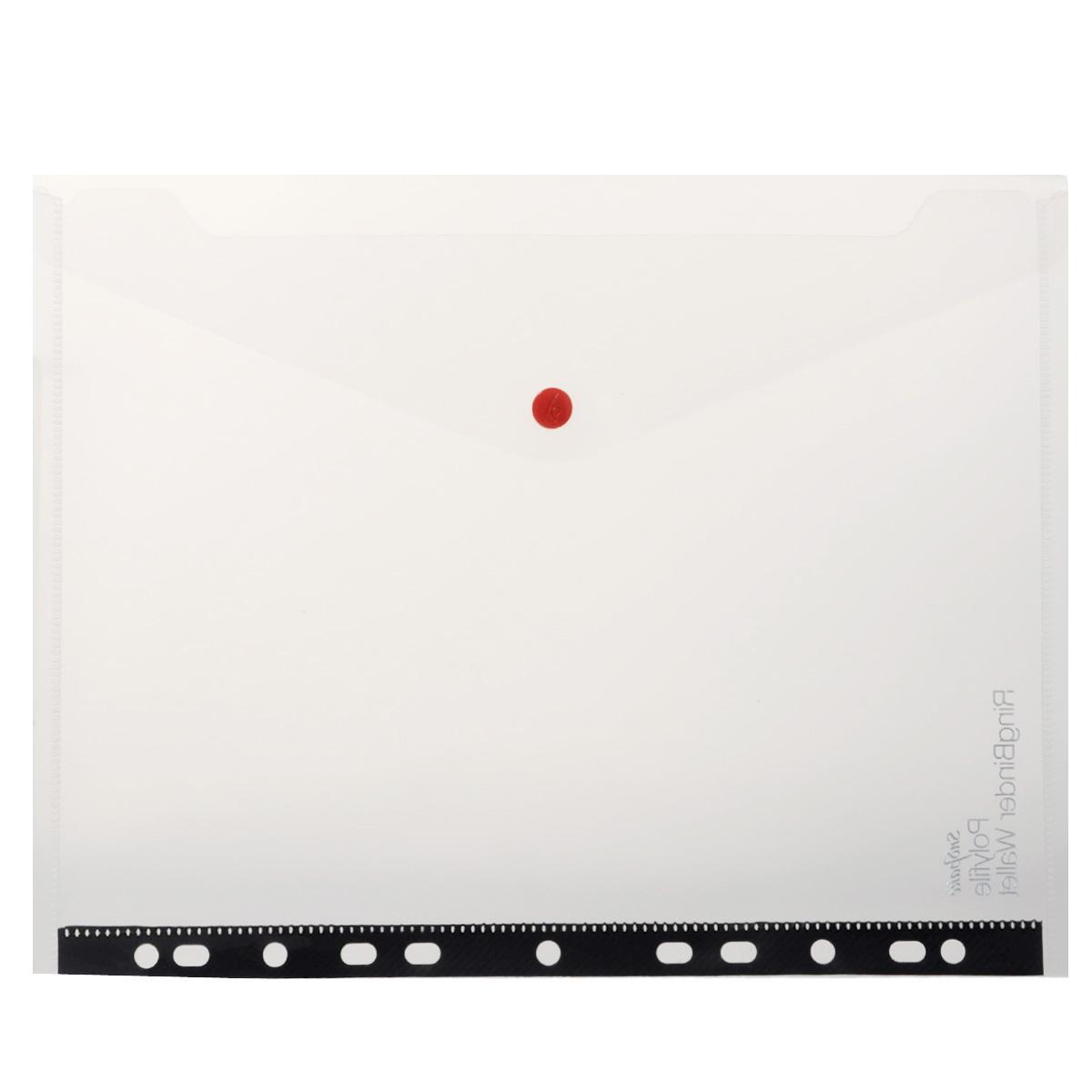 Папка-конверт на кнопке Snopake Polyfile: RingBinder Wallet, с перфорацией, цвет: прозрачный. Формат А4K12566