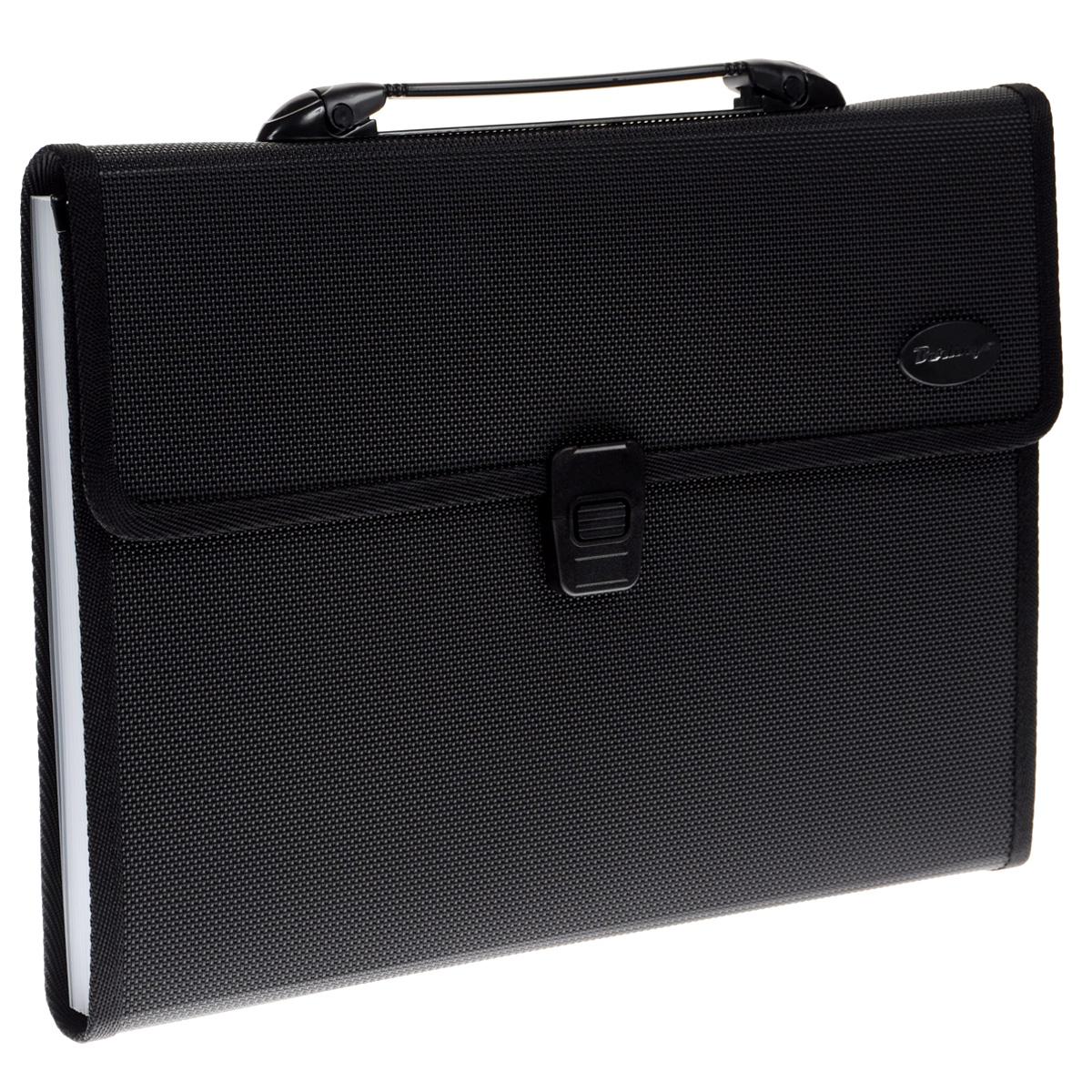 Berlingo Папка-портфель цвет черныйM_2305Папка-портфель Berlingo - это удобный и практичный офисный инструмент, предназначенный для хранения и транспортировки большого количества рабочих бумаг и документов формата А4. Папка-портфель изготовлена из плотного пластика с текстурой под ткань, оснащена удобной ручкой для переноски, закрывается на широкий клапан с пластиковым замком. Внутри папка имеет 13 вместительных отделений для бумаг и документов. Папка-портфель - это незаменимый атрибут для студента, школьника, офисного работника. Такая папка надежно сохранит ваши документы и сбережет их от повреждений, пыли и влаги.