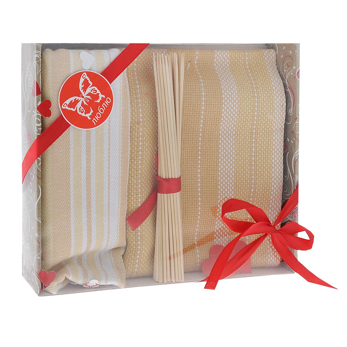 Подарочный набор для кухни Bonita Домашний уют. Полоска, цвет: бежевый, 3 предмета. 101211591101211591Подарочный набор для кухни Bonita Домашний уют. Полоска состоит из двух жаккардовых полотенец и комплекта бамбуковых шпажек. Полотенца выполнены из 100% хлопка и декорированы рисунком в полоску. Такой набор оригинально украсит интерьер и будет уместен на любой кухне. Прекрасно подойдет в качестве подарка, который окажется не только приятным, но и полезным в хозяйстве. Набор упакован в подарочную коробку. Размер полотенец: 50 см х 75 см. Длина шпажек: 20 см.
