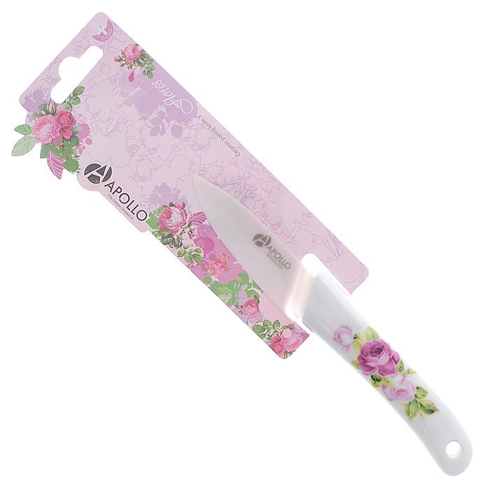 Нож для овощей Apollo Flores, керамический, цвет: белый, розовый, длина лезвия 7,5 см. FLR-04FLR-04Нож Apollo Flores изготовлен из высококачественной циркониевой керамики - гигиеничного, экологически чистого материала. Нож имеет острое лезвие, не требующее дополнительной заточки. Эргономичная рукоятка выполнена из высококачественного пищевого пластика белого цвета и оформлена цветочным принтом. Рукоятка не скользит в руках и делает резку удобной и безопасной. Такой нож превосходно подходит для нарезки и обработки различных овощей. Керамика - это отличная альтернатива металлу. В отличие от стальных ножей, керамические ножи не переносят ионы металла в пищу, не разрушаются от кислот овощей и фруктов и никогда не заржавеют. Этот нож будет служить вам многие годы при соблюдении простых правил. Допускается мытье в горячей воде с моющими средствами. Не рекомендуется мыть в посудомоечной машине. Ввиду хрупкости материала, используйте нож бережно. Длина лезвия: 7,5 см. Длина ножа: 17,8 см.