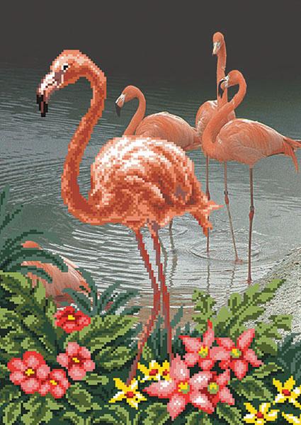 Набор для вышивания бисером Фламинго, 27 х 37 см 02/Б176914Набор для вышивания Фламинго поможет вам создать свой личный шедевр - красивую картину, вышитую бисером. Работа, выполненная своими руками, станет отличным подарком для друзей и близких! Набор содержит: - ткань с нанесенным цветным рисунком (размер ткани 37 см х 49 см), - бисер (Чехия) - 18 цветов, - игла для бисера, - нить для пришивания, - инструкция на русском языке.