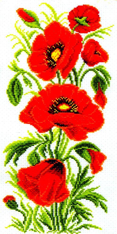 Набор для вышивания крестом Полевые маки, 15 х 38 см 1080176862В набор входит: канва №5,5 (хлопок) с нанесенным рисунком, нитки мулине (100% хлопок), игла, инструкция для вышивания.