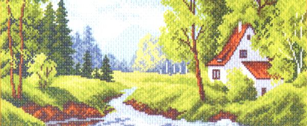 Набор для вышивания крестом Домик у реки, 14 см х 37 см. 1075176859Набор для вышивания крестом Домик у реки поможет вам создать свой личный шедевр - красивую картину, вышитую нитками мулине в технике счетный крест. Работа, выполненная своими руками, станет отличным подарком для друзей и близких! Набор содержит: - канва №5,5 (хлопок) с нанесенным цветным рисунком, размер канвы 24 см х 47 см, - мулине (100% хлопок), - игла, - инструкция на русском языке.