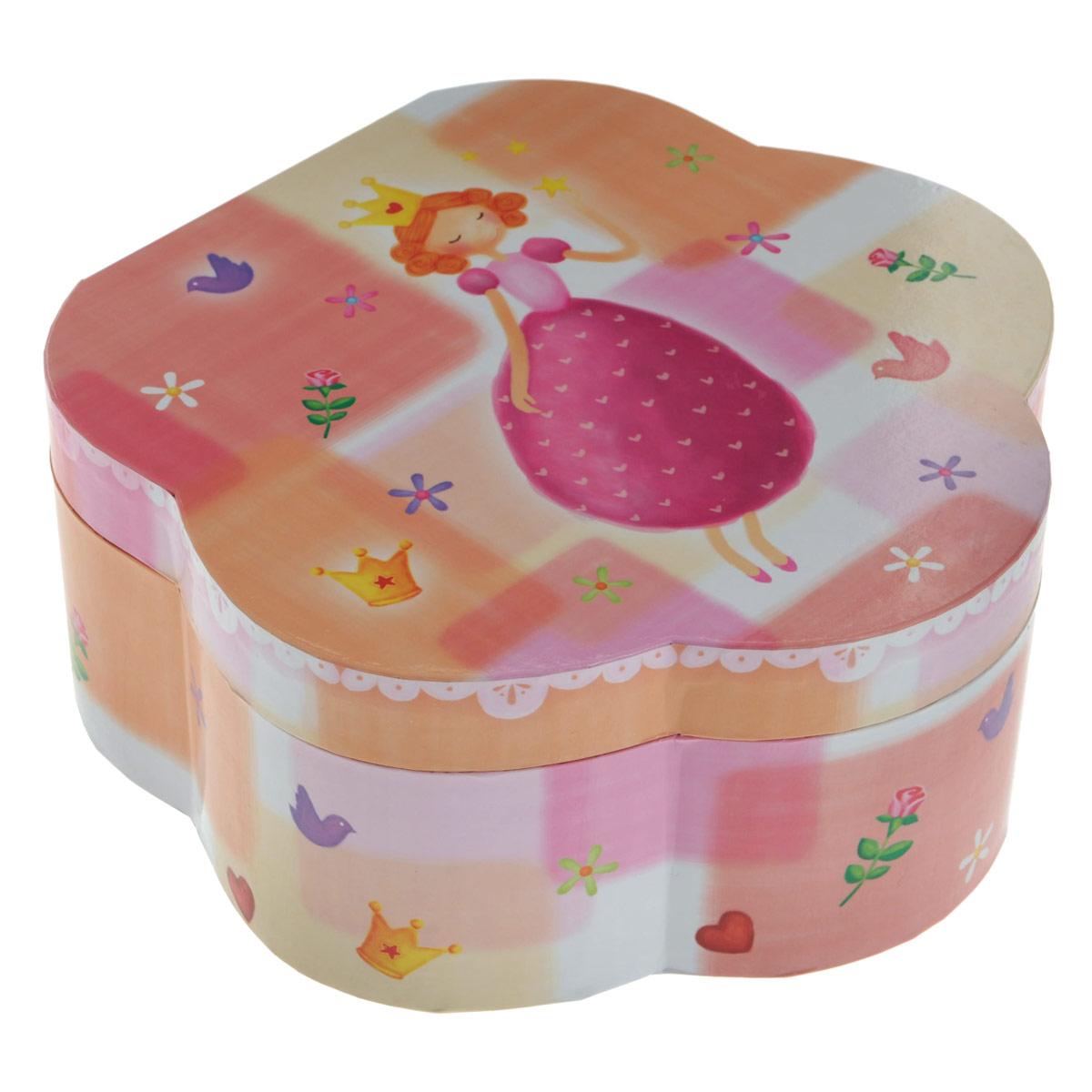 Музыкальная шкатулка в форме цветка Принцесса58000_3_принцессаЧудесная музыкальная шкатулка Принцесса станет великолепным подарком для вашей маленькой красавицы, а ее сказочный мотив создаст поистине волшебное настроение. Малышка сможет хранить там мелкие вещи и свои секреты. Выполненная из дерева в форме цветка с глянцевым бумажным покрытием, шкатулка оформлена красочными изображениями цветов, птичек, сердечек и великолепной девочки-принцессы. Внутри шкатулки одно отделение с двумя отсеками для хранения разнообразных вещиц и валиками для колец, зеркальце и пластиковая фигурка феи, которая при открывании крышки начинает плавно кружиться и играет приятная мелодия. Кроме того, шкатулка имеет металлический механический завод, внутренняя поверхность отделана нежно-розовым бархатистым материалом. Такая шкатулка станет чудесным подарком к любому празднику!