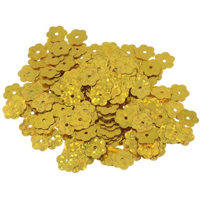 Пайетки Астра Цветочки, с голограммой, цвет: золотистый (А20), 10 мм, 10 г. 7700474_А207700474_А20Пайетки Астра Цветочки с голограммой представляют собой блёстки, плоские чешуйки в форме цветка, изготовленные из пластика с отверстием для продевания нитки. Они позволят изыскано украсить любую вещь, идеальны для декора сценических костюмов, создания стилизованной одежды.