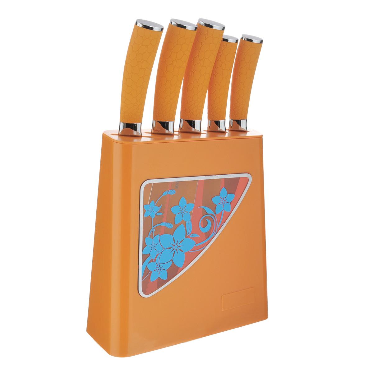 Набор ножей Mayer & Boch, 6 предметов. 2413124131Набор ножей Mayer & Boch состоит из 5 ножей и подставки. Ножи выполнены из нержавеющей стали, ручки из термопластика. Удобная подставка из полипропилена поможет хранить ножи в одном месте. Оригинальный набор ножей великолепно украсит интерьер кухни и станет замечательным помощником. Можно мыть в посудомоечной машине. Длина лезвия поварского ножа: 20,3 см. Общая длина поварского ножа: 33 см. Длина лезвия хлебного ножа: 20,3 см. Общая длина хлебного ножа: 33 см. Длина лезвия разделочного ножа: 20,3 см. Общая длина разделочного ножа: 33 см. Длина лезвия универсального ножа: 12,7 см. Общая длина универсального ножа: 24 см. Длина лезвия ножа для очистки: 8,9 см. Общая длина ножа для очистки: 20 см. Размер подставки (ДхШхВ): 20 см х 10 см х 24 см.