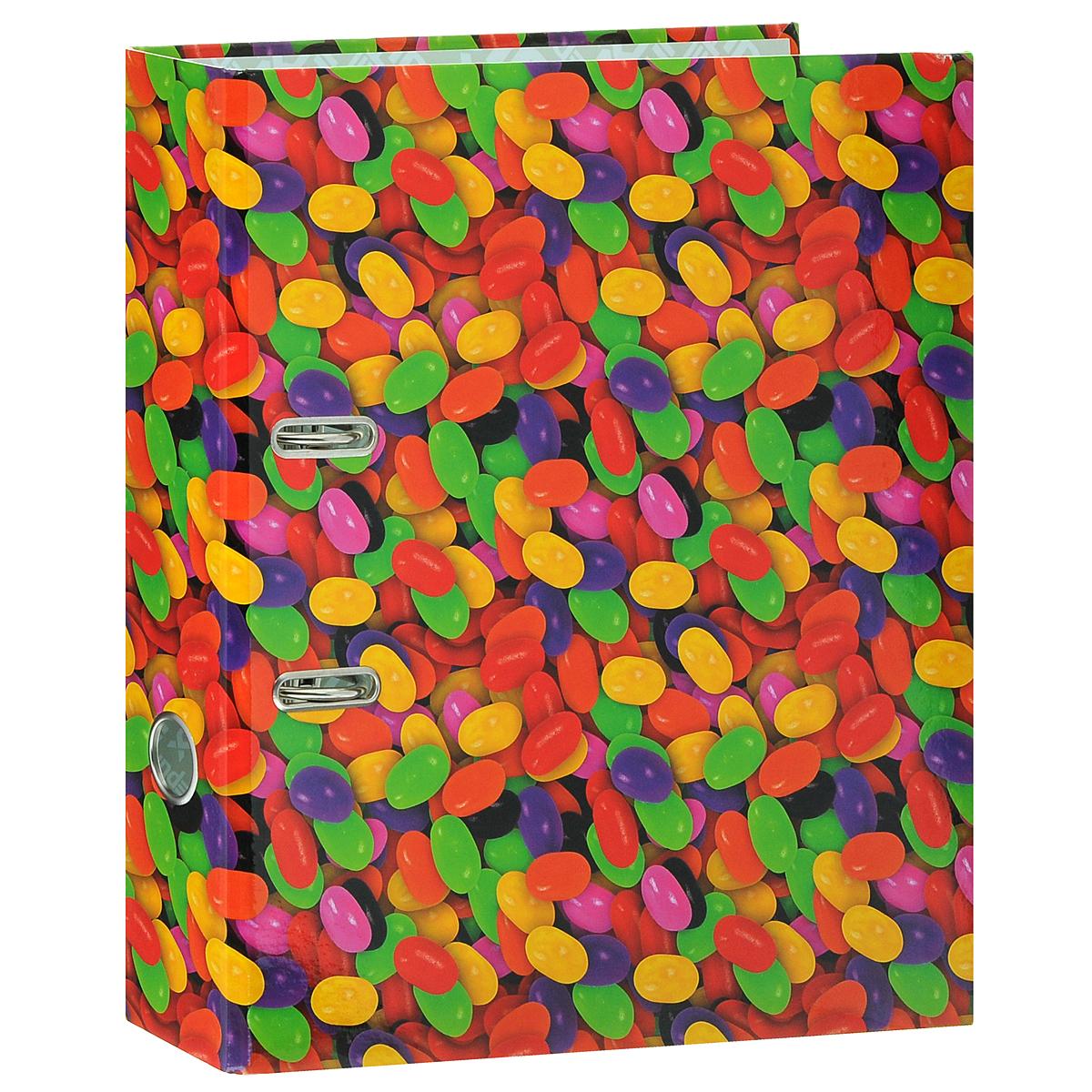 Папка-регистратор Index Драже, ширина корешка 80 мм, цвет: красный, желтый, зеленыйIN111105Папка-регистратор Index Драже незаменима для работы с большими объемами бумаг дома и в офисе. Папка изготовлена из износостойкого высококачественного картона толщиной 2 мм, имеет ламинацию как снаружи, так и внутри. Папка оснащена прочным металлическим арочным механизмом, обеспечивающим надежную фиксацию перфорированных бумаг и документов формата А4. Для папки используется фурнитура только европейского производства. На торце папки расположено металлическое кольцо для удобства использования. Обложка папки оформлена красочным изображением разноцветной россыпи конфет. Папка-регистратор станет вашим надежным помощником, она упростит работу с бумагами и документами и защитит их от повреждения, пыли и влаги.