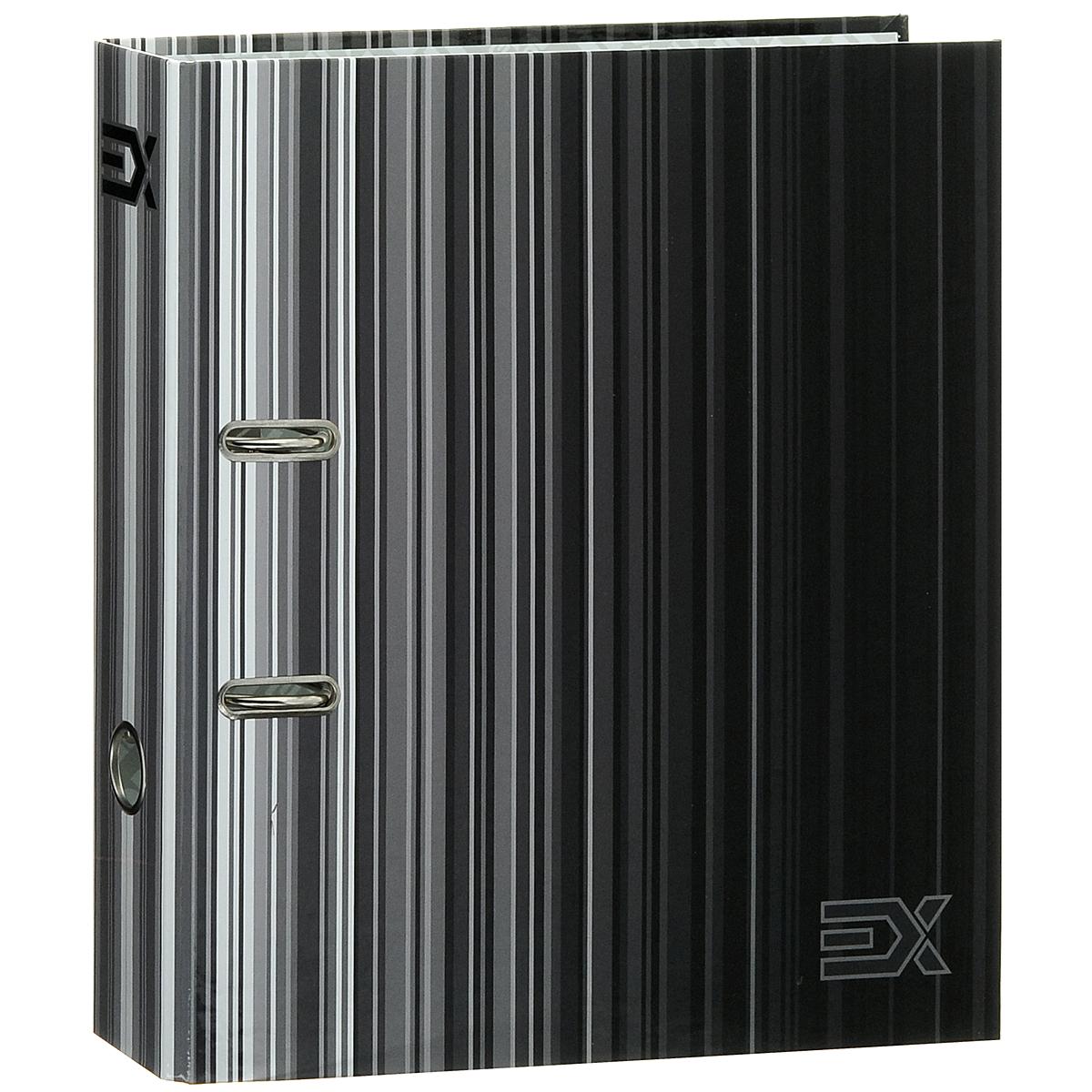 Папка-регистратор Index Extra, ширина корешка 80 мм, цвет: черный, серыйIN111112Папка-регистратор Index Extra незаменима для работы с большими объемами бумаг дома и в офисе. Папка изготовлена из износостойкого высококачественного картона толщиной 2 мм, имеет ламинацию как снаружи, так и внутри. Папка оснащена прочным металлическим арочным механизмом, обеспечивающим надежную фиксацию перфорированных бумаг и документов формата А4. На торце папки расположено металлическое кольцо для удобства использования. Обложка папки оформлена полосками различных оттенков. Папка-регистратор станет вашим надежным помощником, она упростит работу с бумагами и документами и защитит их от повреждения, пыли и влаги.