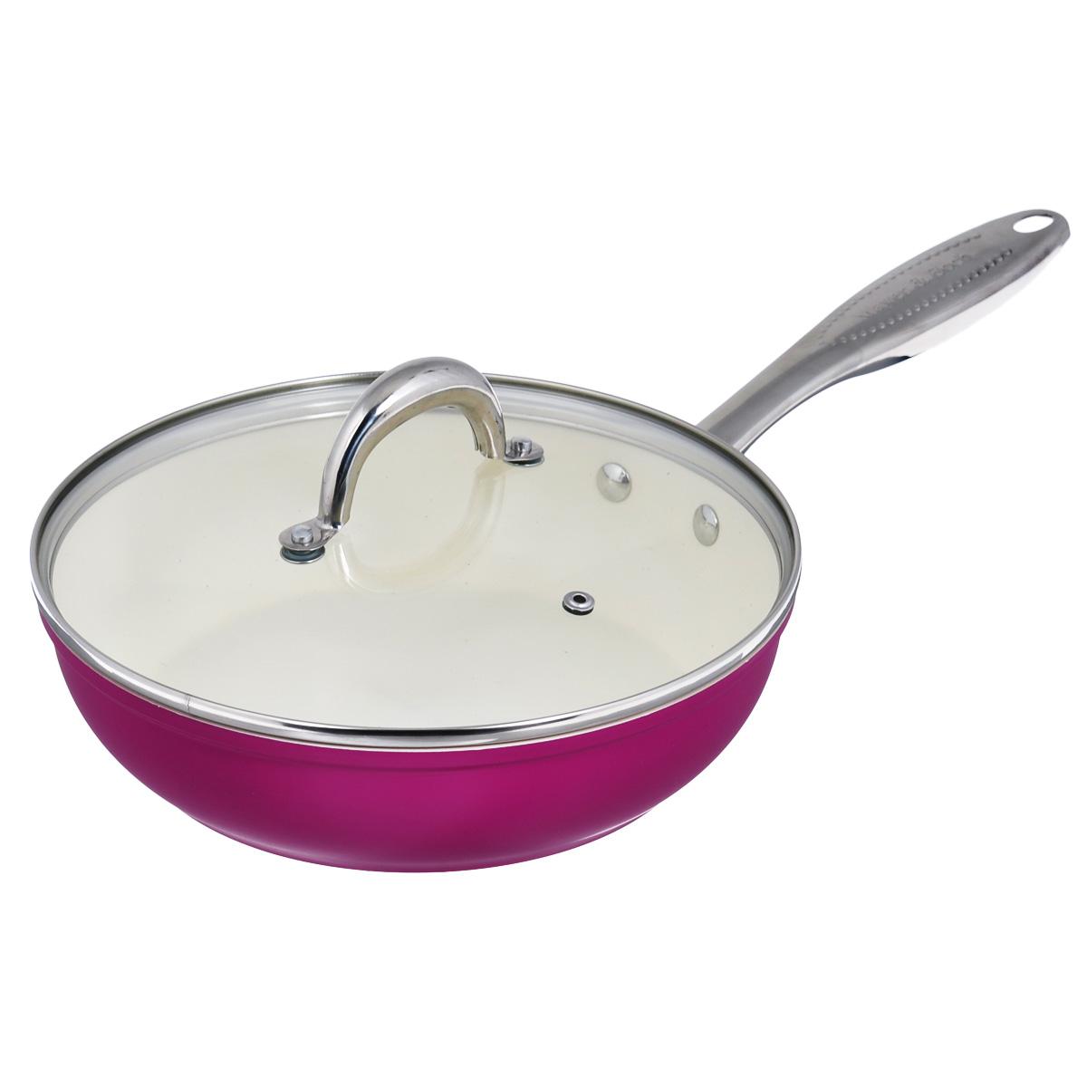 Сковорода Mayer & Boch с крышкой, с керамическим покрытием, цвет: малиновый. Диаметр 24 см. 2138421384Сковорода Mayer & Boch изготовлена из литого алюминия с керамическим покрытием. Сковорода предназначена для здорового и экологичного приготовления пищи. Пища не пригорает и не прилипает к стенкам. Посуда экологически чистая, не содержит примеси ПФОК. Рукоятка специального дизайна, выполненная из нержавеющей стали, удобна и комфортна в эксплуатации. Внешнее цветное покрытие устойчиво к воздействию высоких температур. Крышка изготовлена из жаропрочного стекла, оснащена ручкой, отверстием для выпуска пара и силиконовым ободом. Благодаря такой крышке можно следить за приготовлением пищи без потери тепла. Можно использовать на газовых, электрических, керамических и галогеновых плитах. Не подходит для индукционных плит. Можно мыть в посудомоечной машине. Диаметр (по верхнему краю): 24 см. Высота стенки: 6 см. Толщина стенки: 2,2 мм. Толщина дна: 3,5 мм. Длина ручки: 20 см.