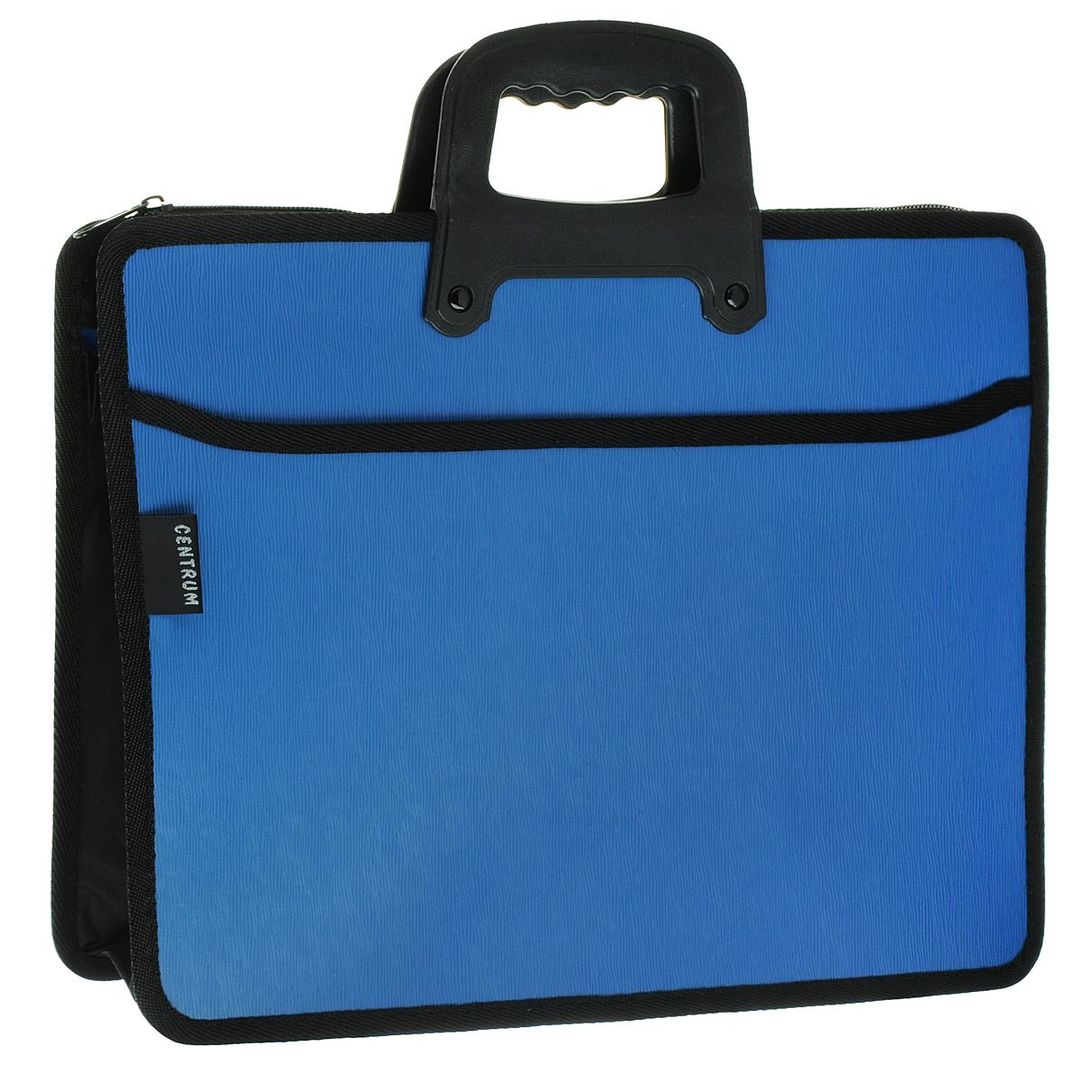 Centrum Папка-портфель на молнии с ручкой цвет голубой82263СинПапка-портфель Centrum станет вашим верным помощником дома и в офисе. Это удобный и функциональный инструмент, предназначенный для хранения и транспортировки больших объемов рабочих бумаг и документов формата А4. Папка изготовлена из износостойкого высококачественного пластика толщиной 0,90 мм, и закрывается на застежку-молнию. Состоит из 2 объемных отделений, разделенных пластиковой перегородкой. На тыльной и фронтальной сторонах папки расположены открытые карманы. Папка оформлена тиснением под дерево. Грани папки отделаны полиэстером, а уголки закруглены для обеспечения дополнительной прочности и сохранности опрятного вида папки. Папка имеет удобную ручку для переноски с вырубками для комфортного захвата. Папка - это незаменимый атрибут для любого студента, школьника или офисного работника. Такая папка надежно сохранит ваши бумаги и сбережет их от повреждений, пыли и влаги.
