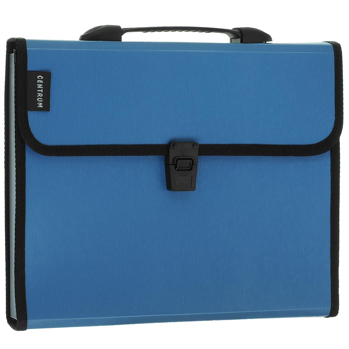 Папка-портфель Centrum, 13 отделений, с ручкой, цвет: голубой. Формат А482261СинПапка-портфель Centrum станет вашим верным помощником дома и в офисе. Это удобный и функциональный инструмент, предназначенный для хранения и транспортировки больших объемов рабочих бумаг и документов формата А4. Папка изготовлена из износостойкого высококачественного пластика толщиной 0,75 мм, и закрывается на широкий клапан с замком. Состоит из 13 вместительных отделений. Папка оформлена тиснением под дерево. Грани папки отделаны полиэстером для дополнительной прочности и сохранности опрятного вида папки. Папка имеет удобную ручку для переноски. Папка - это незаменимый атрибут для любого студента, школьника или офисного работника. Такая папка надежно сохранит ваши бумаги и сбережет их от повреждений, пыли и влаги.