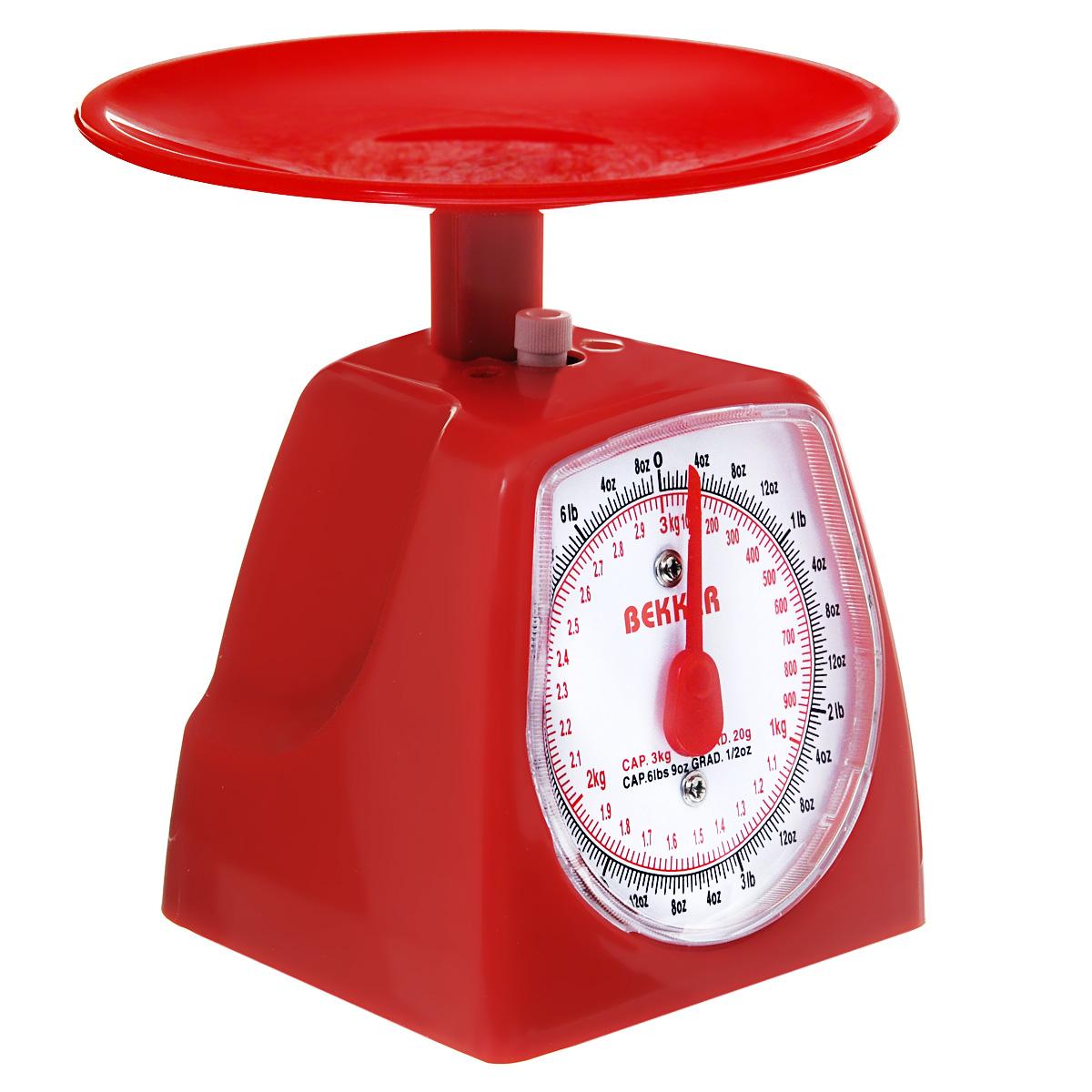 Весы кухонные Bekker Koch, цвет: красный, 3 кг. BK-5BK-5Механические кухонные весы Bekker Koch выполнены из пластика и металла. Циферблат снабжен отметками граммов, килограммов и унций, а также стрелкой. Весы имеют регулятор мерной шкалы. Особенности весов Bekker Koch: надежный механизм, удобная круглая чаша, простой и быстрый способ проверить вес продуктов. Материал: пластик, металл. Размер весов (с учетом чаши): 16,5 см х 16,5 см х 17 см. Диаметр чаши: 16,5 см.