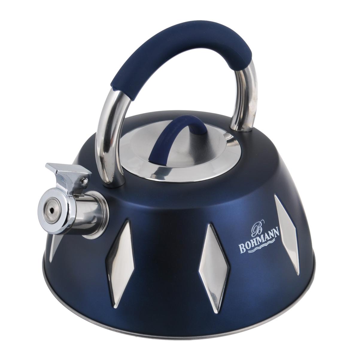 Чайник Bohmann со свистком, цвет: синий, 3,5 л. BH - 99489948BHЧайник Bohmann изготовлен из высококачественной нержавеющей стали с цветным матовым покрытием. Нержавеющая сталь - материал, из которого в течение нескольких десятилетий во всем мире производятся столовые приборы, кухонные инструменты и различные аксессуары. Этот материал обладает высокой стойкостью к коррозии и кислотам. Прочность, долговечность и надежность этого материала, а также первоклассная обработка обеспечивают практически неограниченный запас прочности и неизменно привлекательный внешний вид. Чайник оснащен удобной ручкой с цветной силиконовой вставкой, что предотвращает появление ожогов и обеспечивает безопасность использования. Носик чайника имеет откидной свисток, который подскажет, когда вода закипела. Можно использовать на газовых, электрических, галогеновых, стеклокерамических, индукционных плитах. Можно мыть в посудомоечной машине. Высота чайника (без учета ручки и крышки): 10 см. Высота чайника (с учетом ручки): 22 см. Диаметр основания...
