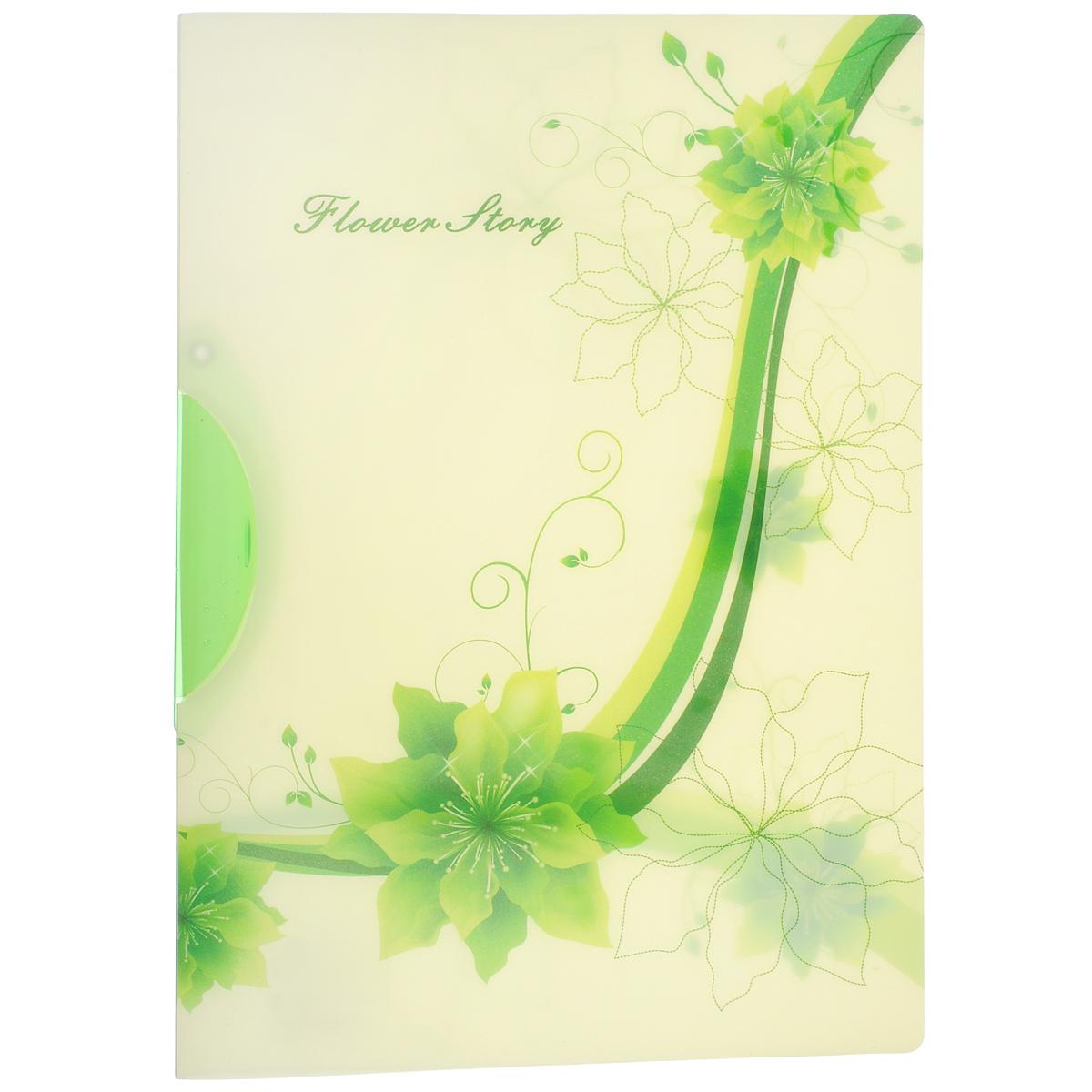 "Папка с клипом Centrum ""Flower Story"", цвет: зеленый. Формат А4 84135Сал"