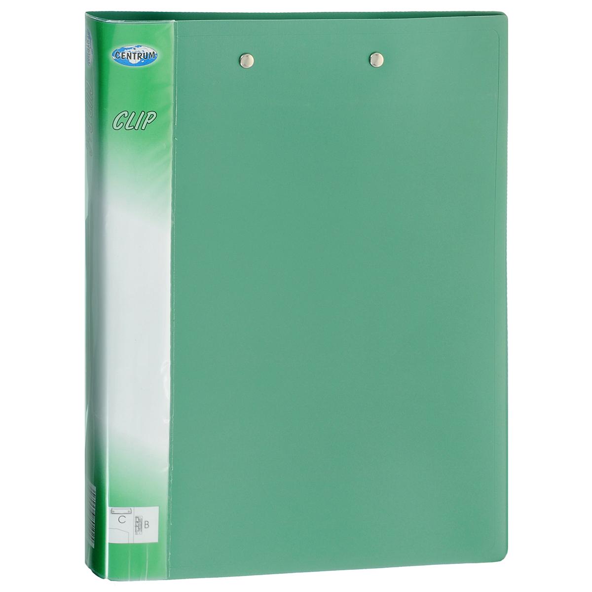 Папка Centrum с боковым и верхним зажимами, цвет: зеленый. Формат А480102ЗПапка Centrum с боковым и верхним зажимами - это удобный и функциональный офисный инструмент, предназначенный для хранения и транспортировки бумаг и документов формата А4. Обложка папки изготовлена из износостойкого непрозрачного пластика повышенной плотности. Папка имеет опрятный и неброский вид. Оснащена двумя металлическими зажимами - боковым и верхним, что позволяет использовать ее в качестве накопителя и планшета для записей на весу. На внутренней стороне расположен прозрачный открытый карман. Папка - это незаменимый атрибут для студента, школьника, офисного работника. Такая папка надежно сохранит ваши документы и сбережет их от повреждений, пыли и влаги.